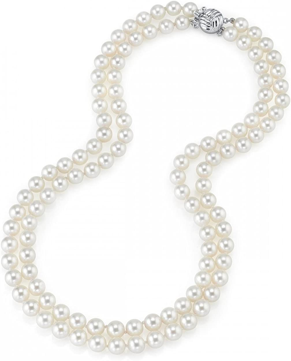 THE PEARL SOURCE 14K Gold 9-10mm AAA Quality Double Strand White Freshwater Cultured Pearl Necklace for Women in 19-20