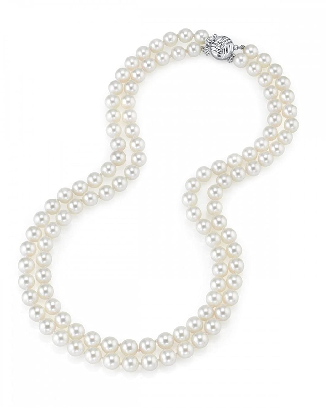 THE PEARL SOURCE 14K Gold 9-10mm AAA Quality Double Strand White Freshwater Cultured Pearl Necklace for Women in 18-19