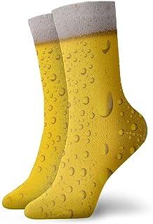 QUEMIN, Cerveza Gotas de agua sobre vidrio Ventilación ligera y transpirable Calcetines de tobillo Calcetines de equipo Tobillo Atlético Correr Deportes Calcetines casuales para mujeres Hombres