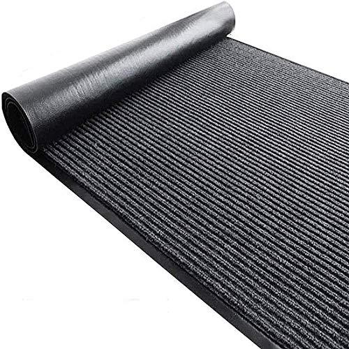 Ybaymy, tappeto passatoia antiscivolo con motivo decorativo, ideale per soggiorno, camera da letto, cucina, ufficio, corridoio, (colore nero, 300 x 90 cm)