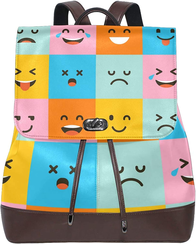 FAJRO Cute Square Emoji Face Travel Backpack Leather Handbag School Pack