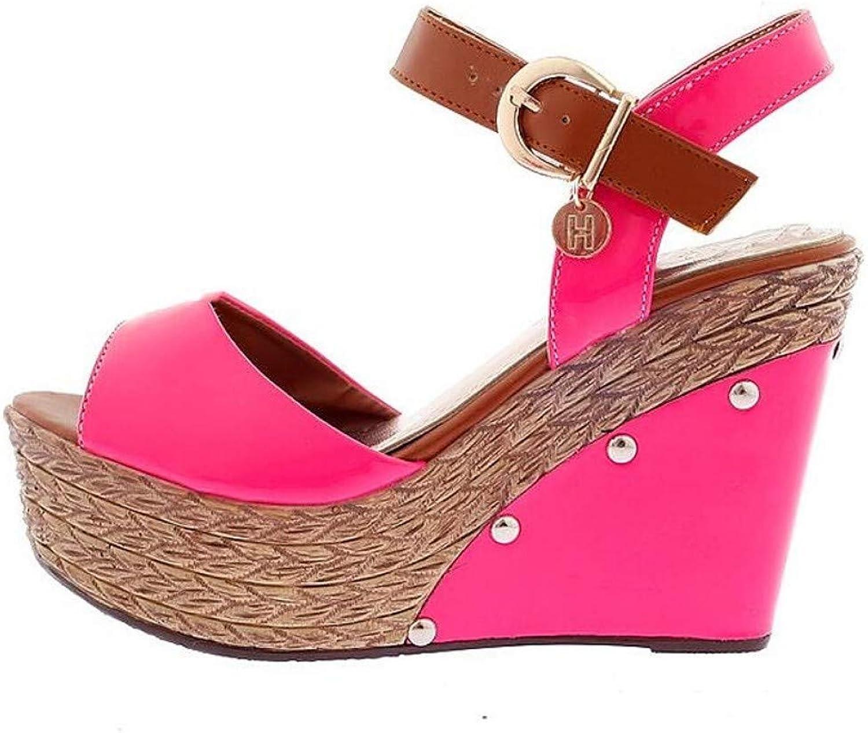 ZHZNVX Women's PU Spring Sandals Wedge Heel White Red bluee