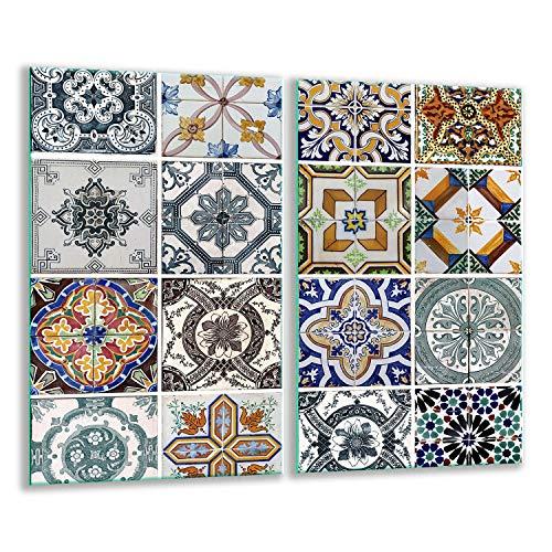 QTA   Herdabdeckplatten Set 2x30x52 cm Ceranfeld Abdeckung Glas Spritzschutz Abdeckplatte Glasplatte Herd Ceranfeldabdeckung Mosaik