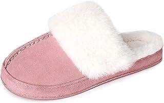 BCSTUDIO Women's Fuzzy Fur Sheepskin Scuff Slippers Cozy Memory Foam House Shoes with Anti-Skid Sole