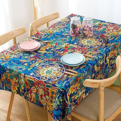 HXC Home 65 * 65 cm Bleu Jaune Autochtones Pop Art géométrique Art INS Nappe en Coton et Lin à Manger Bureau Jardin Rectangulaire carré Non-Ironing respectueux de l'environnement Chemin de Table