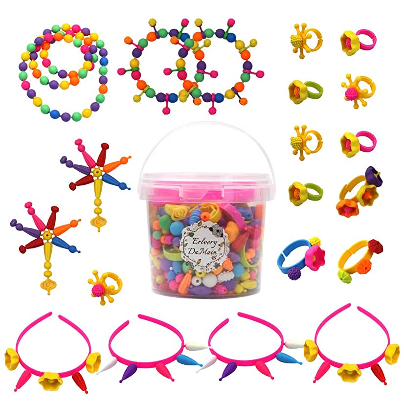 520 pcs Snap Beads Pop Beads DIY Jewelry Making Art Crafts Gift Toys Set for Girls