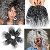 8 Inch Short Marlybob Crochet Hair 6 Small Bundles/Lot Kinky Curly Crochet Braids Ombre Braiding Hair Synthetic Hair Extension (1B/Gray)