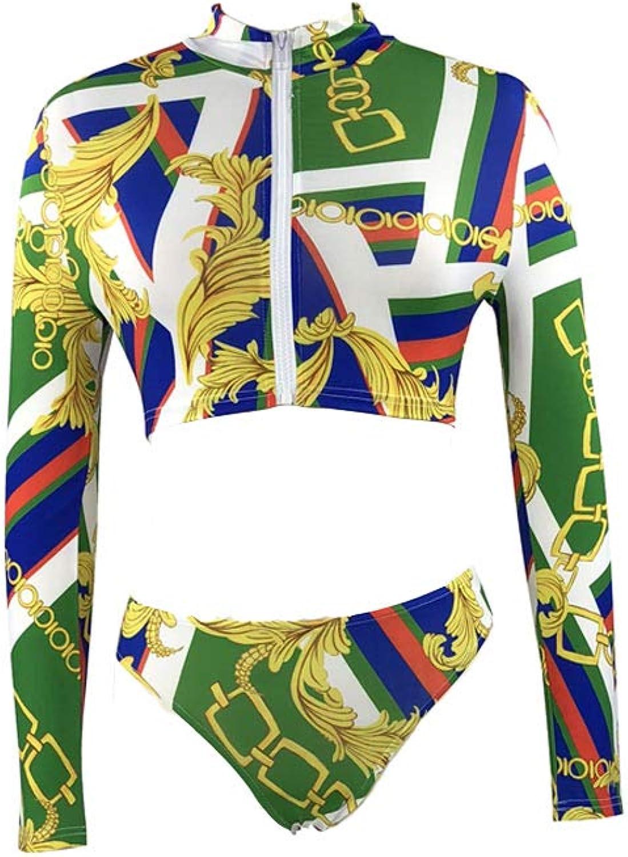 Yzxl Mode Drucken Badeanzug Niedrige Größe Langarm Reißverschluss Konservativ Bikini Sexy Lady Spa Strand Bademode B07QTFQZD7  Verkauf neuer Produkte