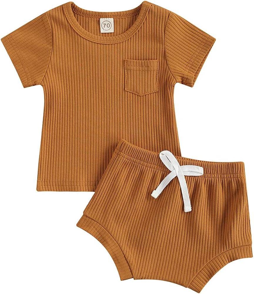 Infant Washington Mall Newborn Baby Boy Philadelphia Mall Girl Ribbed Sets Solid Pocket Top Shorts