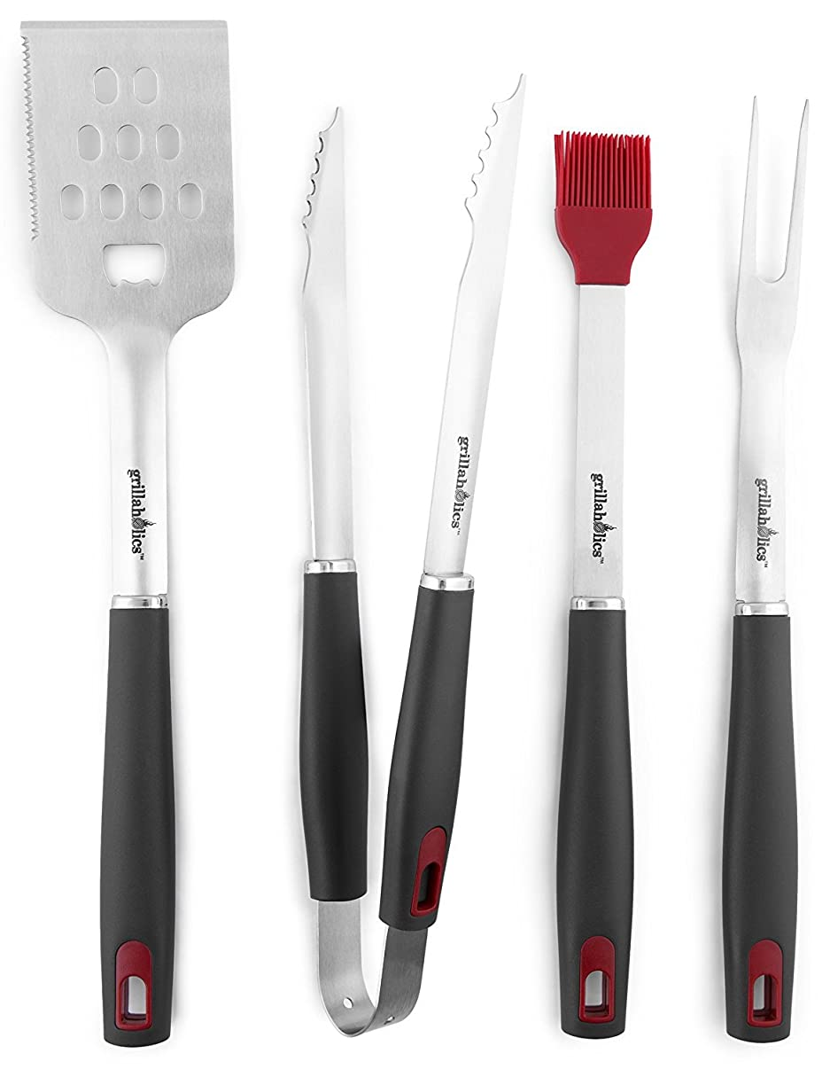 Grillaholics BBQ Grill Tools Set - 4-Piece Heavy Duty Stainless Steel Barbecue Grilling Utensils - Premium Grill Accessories for Barbecue - Spatula, Tongs, Fork, and Basting Brush