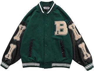 Unisex Varsity Jacket Sweat Jacket Vintage Streetwear Oversized Patchwork