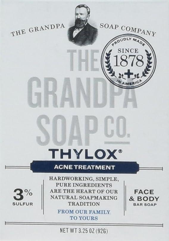 ピニオン突然の言語学The Grandpa Soap Company おじいちゃんのSOAP、THYLOXにきびTRTMNT、3.25 OZ、6パック