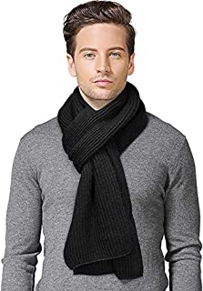 Buluri Autumn Winter Scarves for men and women,Long Thick Knitted Soft Warm Gentleman Neckwear Black