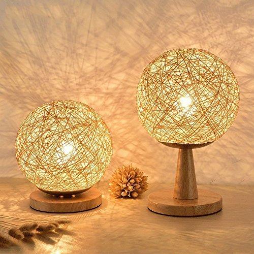 Lámpara de Tabla de la Bola del cáñamo para el Dormitorio Moderno Woody Simple del Arte de Rattan Dormitorio Decorativo Cama de Madera verdadera Lámpara de cabecera (Tamaño : Pack of 2)