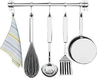 Wall Mounted Kitchen Spice Rack Stainless Steel/with Adjustable Hooks kitchen organizer rack (Size : 12 kooks)