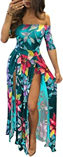 Women's Off Shoulder Floral Print High Split Beach Maxi Dress Jumpsuit Romper