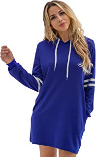 Women's Long Sleeve Hoodie Dress Casual Pullover Sport Pockets Sweatshirt