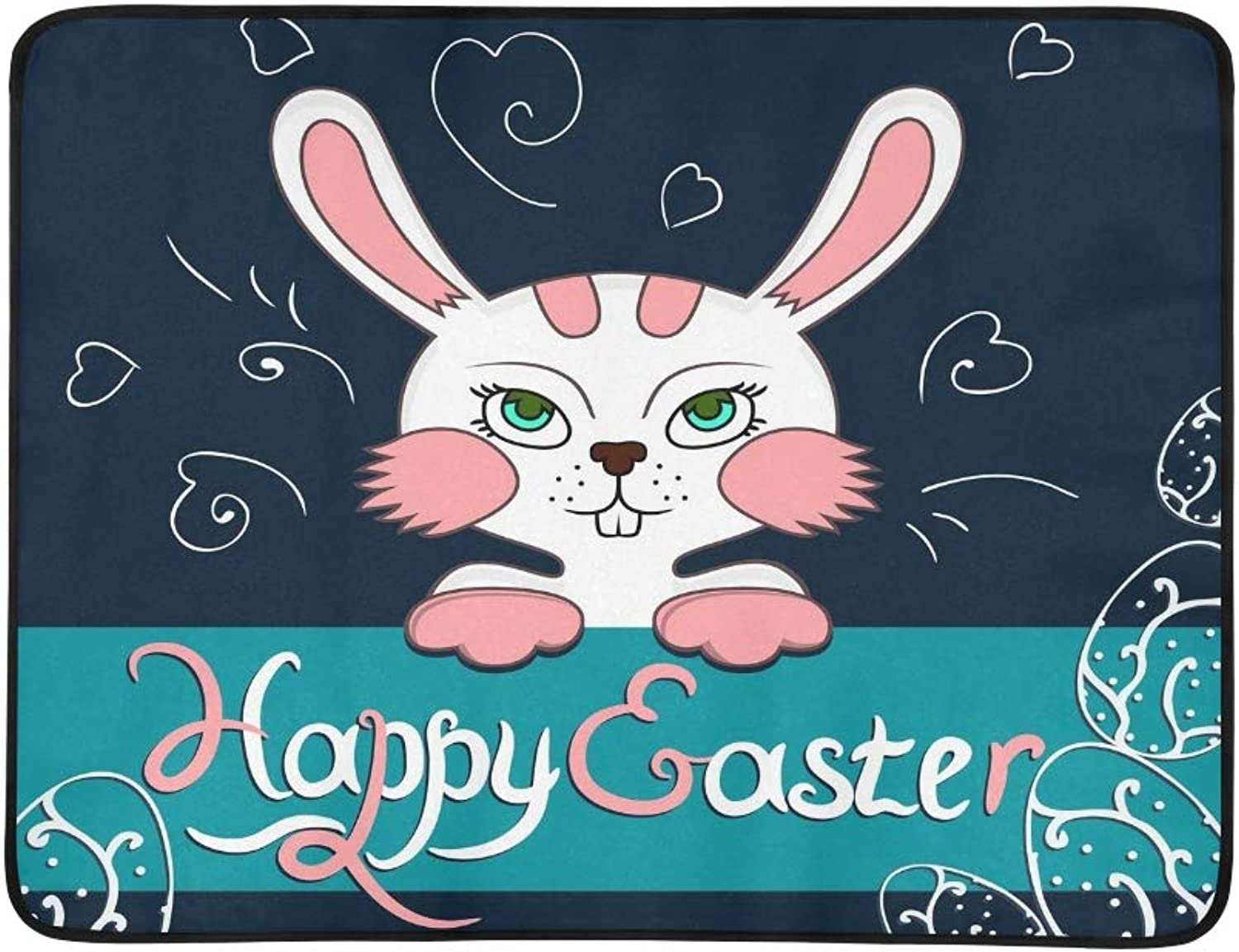 colorful Happy Easter Greeting Card Bunny Portable and Foldable Blanket Mat 60x78 Inch Handy Mat for Camping Picnic Beach Indoor Outdoor Travel