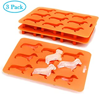 Dachshund Silicone Ice Cube Trays BPA Free 3 Pack,Easy-Release and Stackable 9-Ice Molds Flexible Ice Tray Dog Shape for Ice Cube Chocolate Baby Food Making (3 pack)