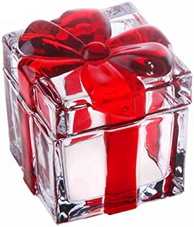 Vencer Square Sugar Bowl Crystal Glass With Bowknot Lid, Storage Box Wedding Candy Cookies Seasoning Food Tea and Food Sto...