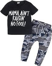 YIJIUJIU 2Pcs Toddler Kids Baby Little Boys Letters Printed Tops T-Shirt Camo Pants Outfits Set Black Clothes