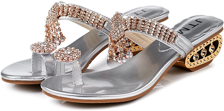 Btrada Womens Fashion Rhinestone Block Heel Wedges Platform Sandals Open Toe Clip Toe Glitter Party shoes
