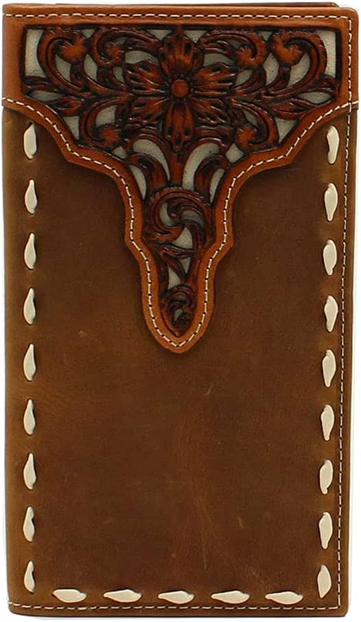 ARIAT Rodeo Floral Tooled Overlay Buck Stitch Medium Brown Wallet