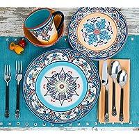Euro Ceramica Zanzibar Collection 16-Piece Stoneware Dinnerware Set