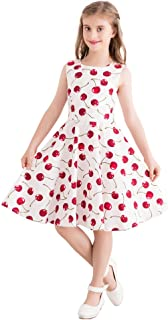 Girls Sleeveless Summer Vintage Print Swing Party Dresses 3-12 Years