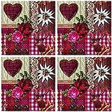 Tovaglioli di carta a 3 veli, 33 x 33 cm, 40 pezzi, a forma di cuore, con collage, per feste con rose e cervo, decorazione da tavolo, motivo: animali e fiori, tovaglioli di carta