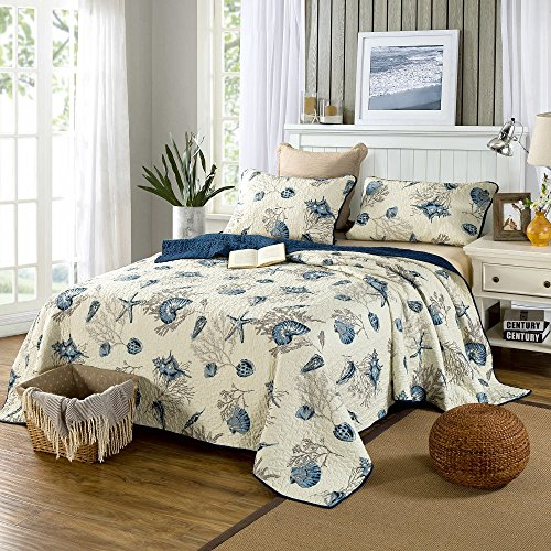 Beddingleer Tagesdecke Patchwork Baumwolle Seashells Muster Bettueberwurf Weiss 230 x 250 cm 3 teilige Doppelbett Wohndecken Gesteppt
