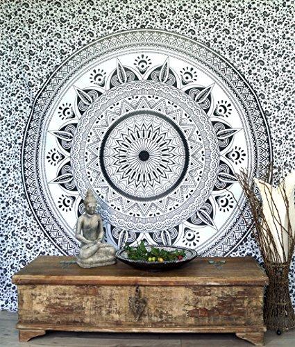 Guru-Shop Boho-Style Wandbehang, Indische Tagesdecke Mandala Druck- Schwarz/weiß, Baumwolle, 230x210 cm, Bettüberwurf, Sofa Überwurf