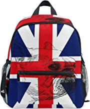 CHLBOJ English Bulldog Pug British Flag Kids Backpack Pre-School Bag for Kindergarten Toddler Boy Girls