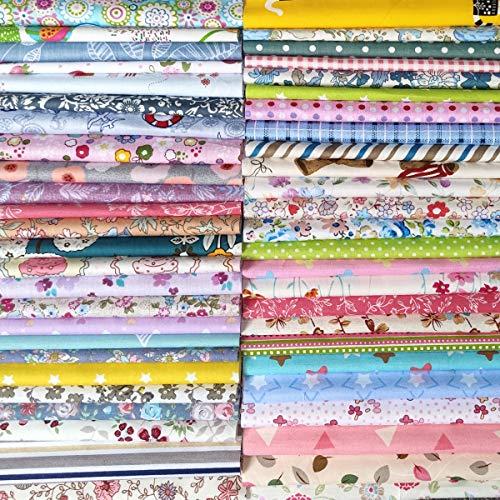N A 50 Stück Baumwollstoff 100% Baumwolle Patchwork 30x30cm Stoff Quadrate Nähstoffe Stoffpaket zufällig Muster für DIY Nähen Handwerk Deko
