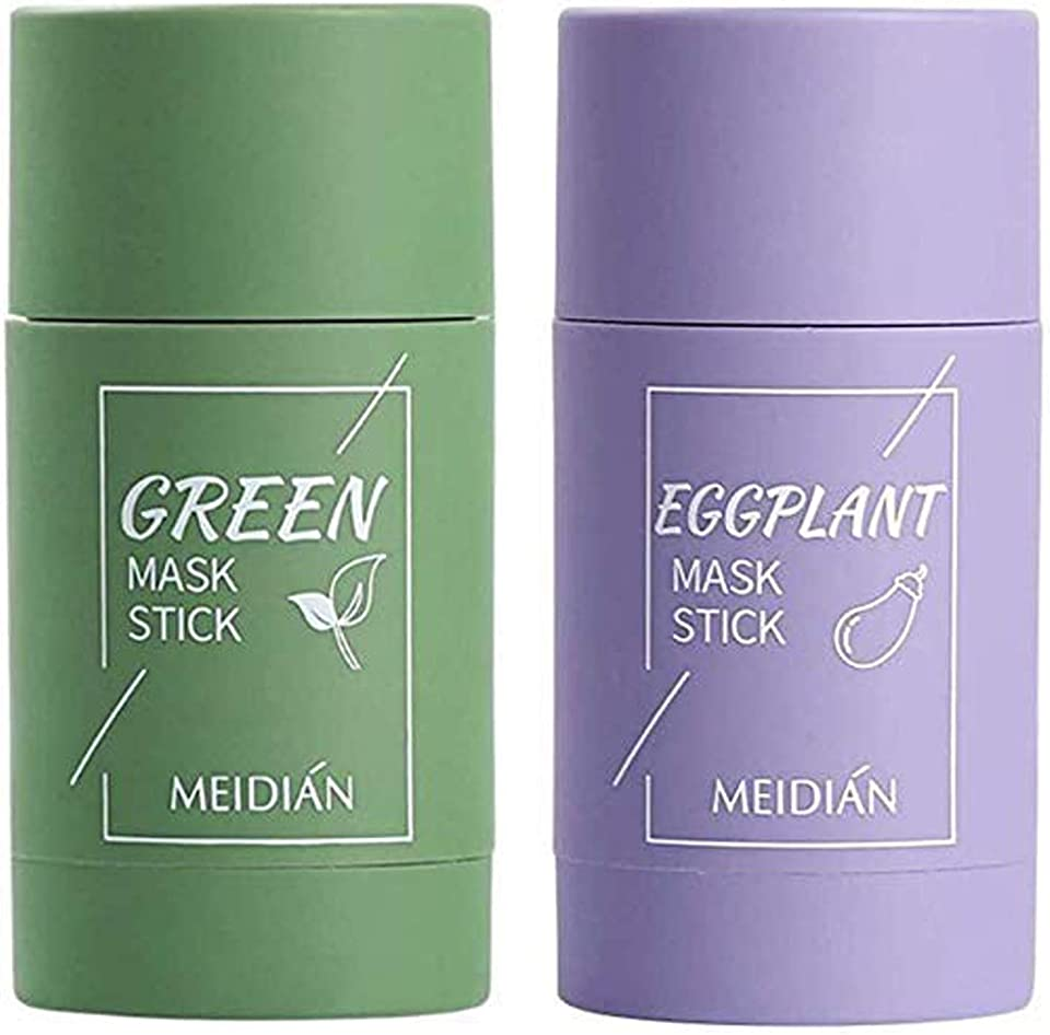 2 Stück Grüner Tee Purifying Clay Stick Mask Ölkontrolle Gesichtsmaske, Stick Deep Cleansing Anti-Akne-Maske Fine Solid Mask Green Tea,Clean Pore Improves Skin for All Skin Types (Green Tea&Aubergine)