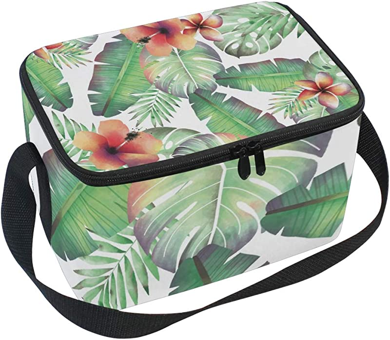 Insulated Lunch Bag Tropical Palm Leaves Flower Watercolor Lunchbox Thermal Handbag Food Container Cooler Reusable Outdoors Travel Work School Strap Lunch Tote