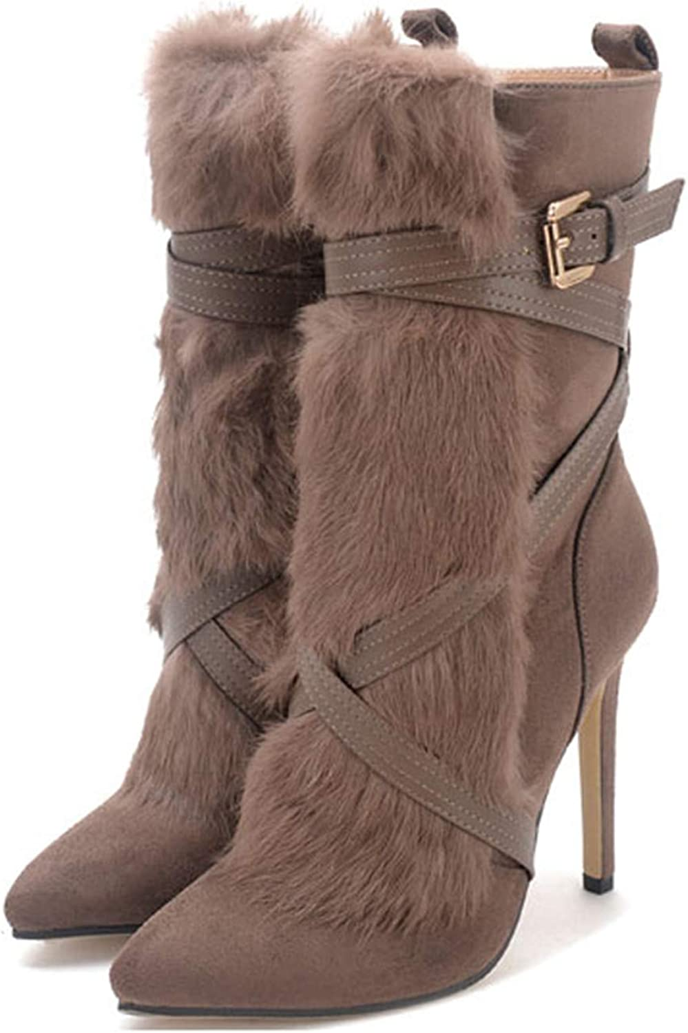 Kongsta New Suede Rabbit Fur Woman shoes Cross-Tied Pointed Toe Zipper Warm Fashion High Heels Sexy Ankle Boots Size 35-40