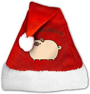NGAIMI Pugsheen The Dog Santa Claus Father Christmas Hats for Adults and Teens Unisex 1217 Inch (WH) Red