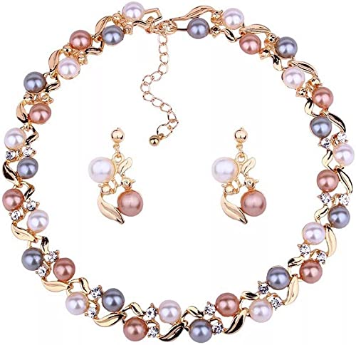 Fashion 18k Gold Plated Pearl Necklace Set Jewellery Set with Fancy Earrings for Girls Women