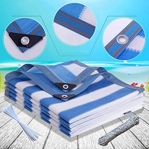 Sunblock Shade Fabric Sun Net Premium Thicken Shade Cloth, Outdoor Pergola Awning Canopy Balcony Garden Sun Shade Sail, 13x13ft(4x4m),13x16ft(4x5m) Blue White
