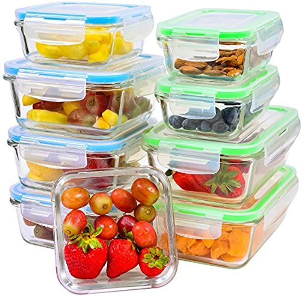 Glass Meal Prep Containers With Lids 9 Piece Leakproof Food Storage Container Set 5 Different Portion Control Sizes With Airtight Lock Microwave Freezer Dishwasher Safe Lunch Dishes