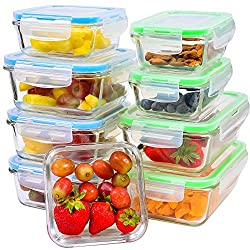 9-Piece Set of Glass Food Storage Containers