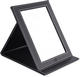 amoore Makeup Mirror Travel Mirror Vanity Mirror Folding Tabletop Mirror with PU Leather Cushioned Cover (Large, Black)