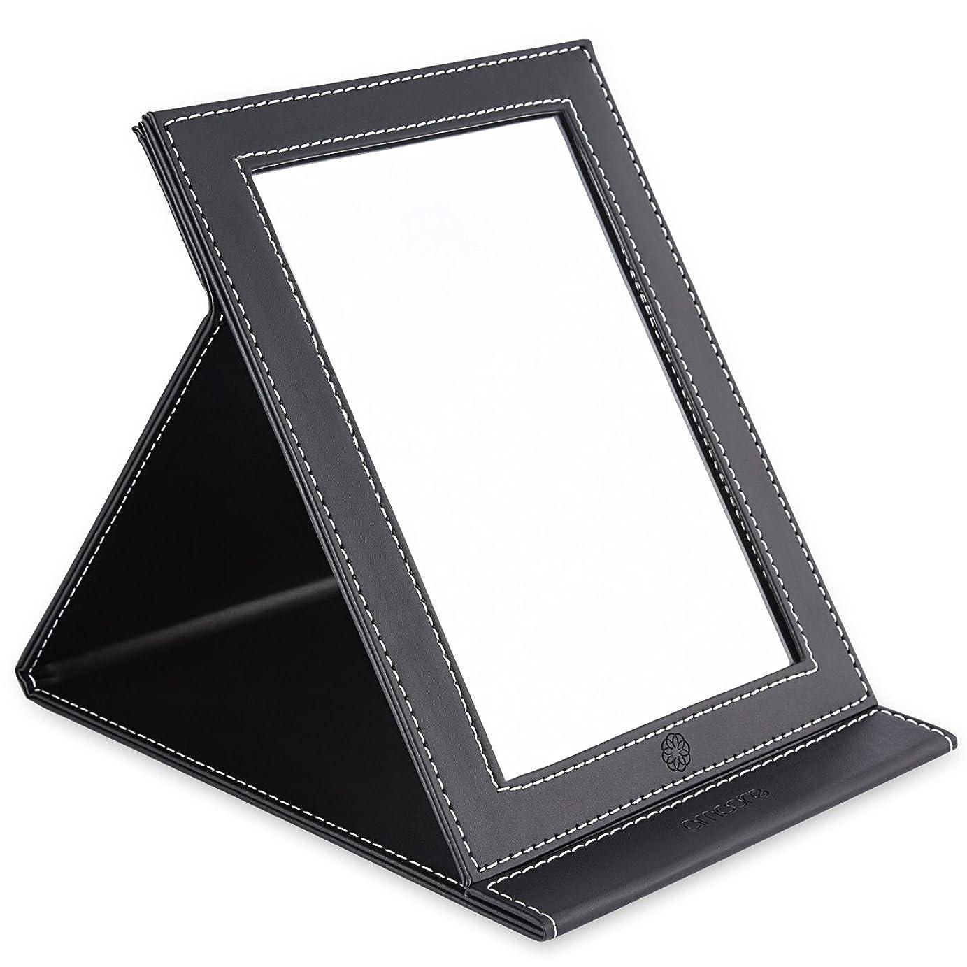 コミュニティ混乱させる結果amoore 化粧鏡 卓上スタンドミラー 折りたたみミラー PUレザー (ブラック)