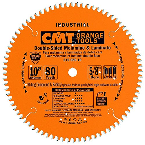 CMT 219.080.10 Industrial Sliding Compound Miter & Radial Saw Blade, 10-Inch x 80 Teeth 4/30° ATB+1TCG Grind with 5/8-Inch Bore, PTFE Coating