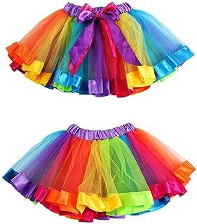 Hot Sale!!Woaills Girls Kids Petticoat Rainbow Pettiskirt Bowknot Skirt Tutu Dress Dancewear S-L (Multicolor, L)