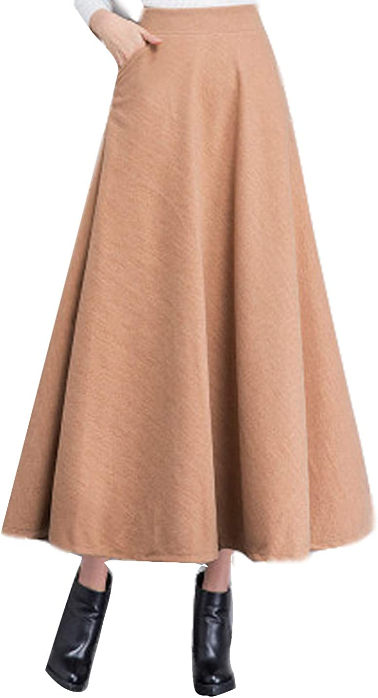 Gihuo Women's Casual Warm A-Line Flared Pleated Wool Blend Long Skirt