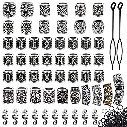Lykoow 56 Pieces Viking Beard Beads Antique Norse Hair Tube Beads Dreadlocks Viking Jewelry Beads for Hair Braiding Bracelet Pendant Necklace Silver DIY Jewelry Hair Decoration