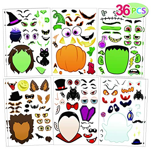36 PCS Make-a-face Sticker Sheets Make Your Own Halloween Characters Mix and Match Sticker Sheets with Vampire, Witch, Frankenstein, Ghost and more Halloween Kids Party Favor Supplies Craft