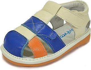 754fc00b76dd81 HLT Toddler Little Kid Boy Orange Breeze Closed-Toe Squeaky Sandal